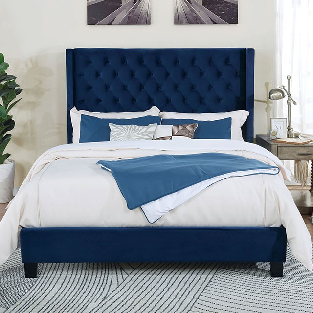 CM7141NV-Q Ryleigh navy fabric upholstered wingback design queen bed with tufted accents