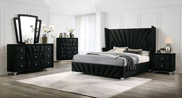 CM7164BK 4 pc Carissa black fabric upholstered art deco style design queen bedroom set