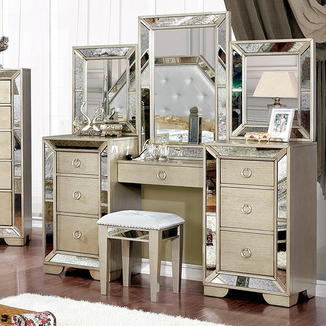 CM7195V 3 pc House of Hampton susann Loraine champagne finish wood make up bedroom vanity set