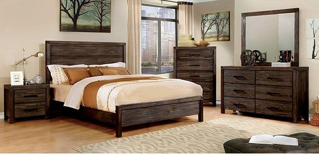 CM7382-5pc 5 pc rexburg dark grey wire brush finish wood queen bedroom set