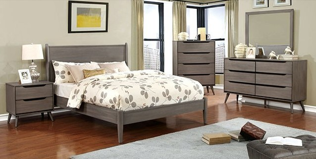 CM7386GY-5pc 5 pc lenhart mid century modern grey finish wood queen bedroom set