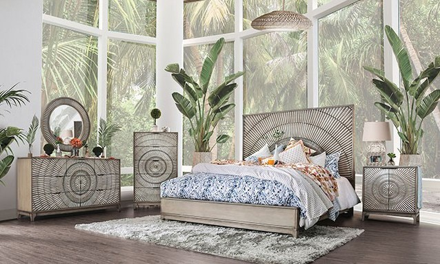 CM7521-5PC 5 pc Kamalah antique gray finish wood queen bedroom set with arch design headboard