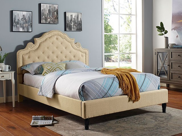 CM7537BG Rosdorf park aubree beige padded and tufted queen bed set with nail head trim