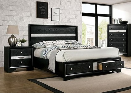 CM7552BK-Q  Rosdorf park schramm chrissy black finish wood queen bed with drawers in foot board