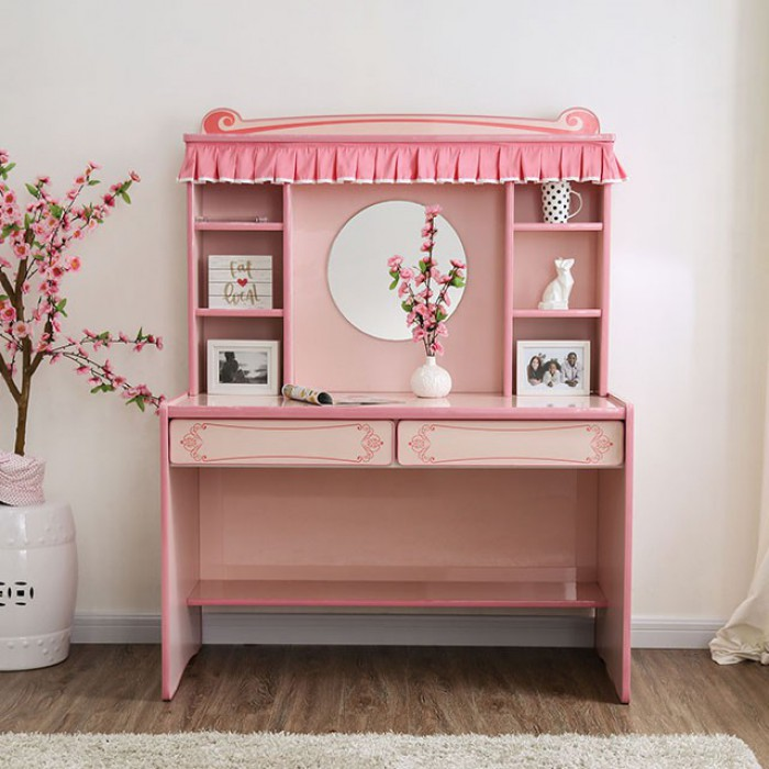 CM7631DK Rheanna pink finish wood princess style desk and hutch