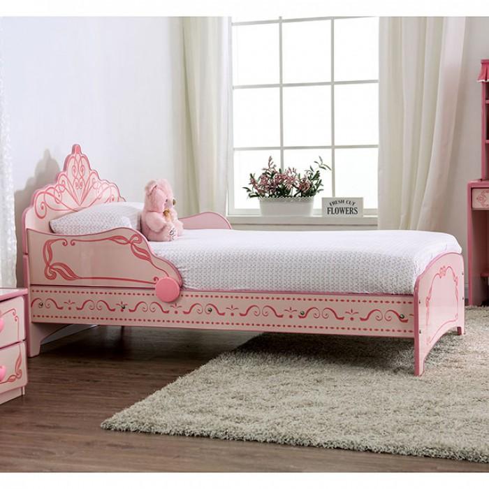 CM7632 Hokku designs Julianna pink / light pink princess style design twin size kids bed