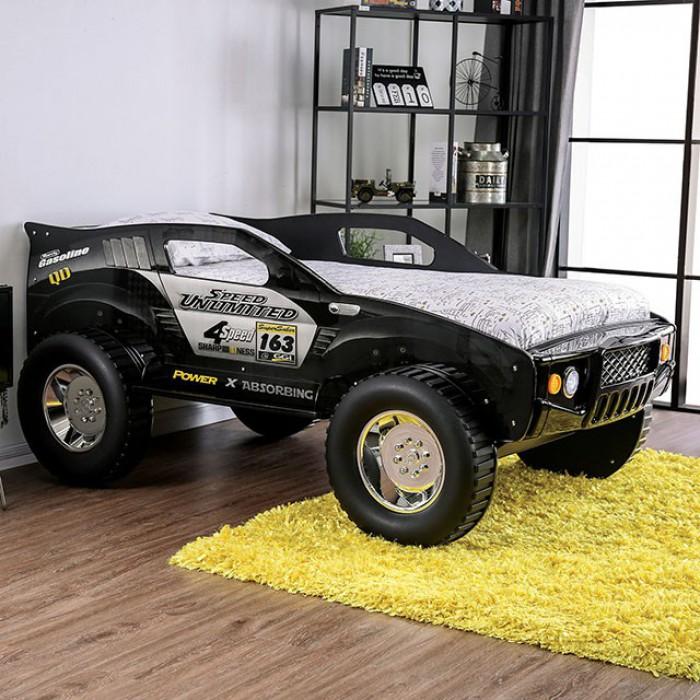 CM7641 Hokku designs speed jump raised racing car style design twin size kids bed w/ LED lights