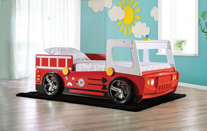 CM7644 Hokku designs Fierstall fire truck style design twin size kids bed w/ LED lights