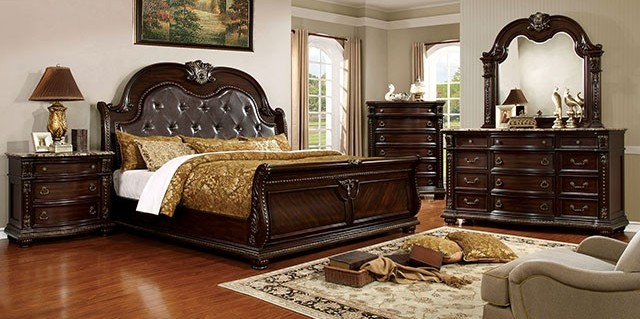 CM7670-5pc 5 pc fromberg brown cherry finish wood queen sleigh bedroom set