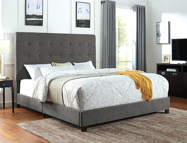 CM7915 Rosdorf park carroll gray padded and tufted fabric queen bed set