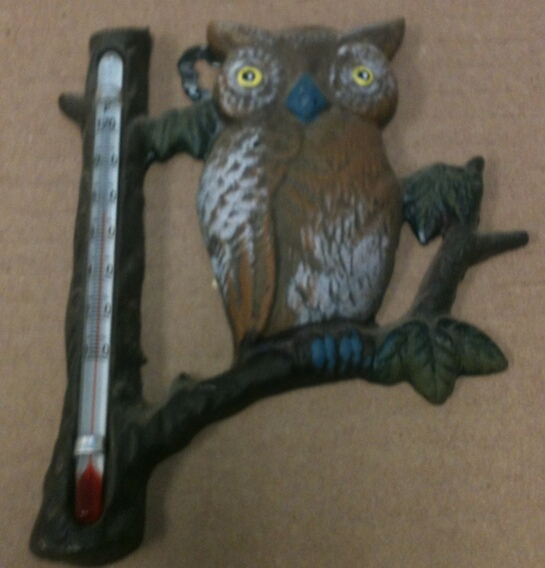 Cast iron owl thermometer wall hanger