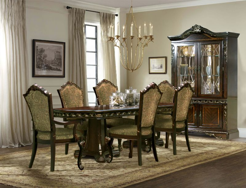 Mc Ferran D189-7PC 7 pc Astoria grand swartwood dark finish wood brushed gold accents dining table set