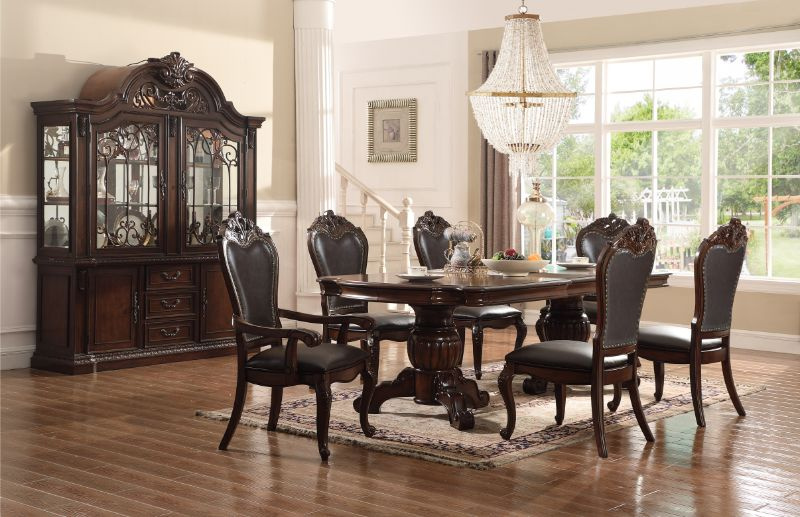 Mc Ferran D3601-7PC 7 pc Astoria grand lundberg cherry finish wood double pedestal dining table set
