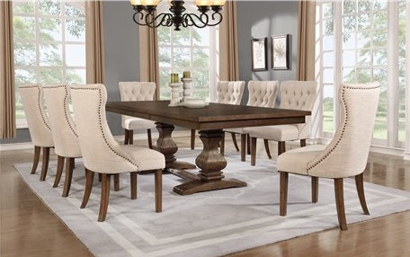 D42-9PC 9 pc Darby home co richmond antique rustic walnut finish wood dining table set