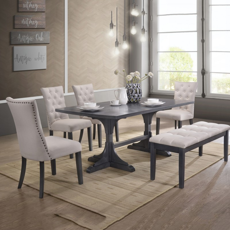 e6a5806002 D44-6PC 6 pc Paulina collection antique gray finish wood double pedestal dining  table set