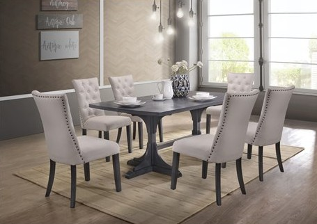 D44-7PC 7 pc Darby home co bellwood antique gray finish wood double pedestal dining table set