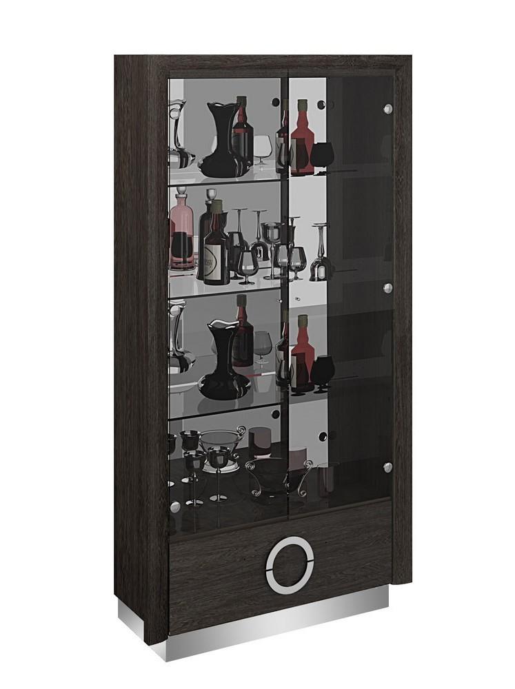 D59-VETRINA  Orren ellis desrochers vertina high gloss grey wood grain finish wood modern style display curio cabinet