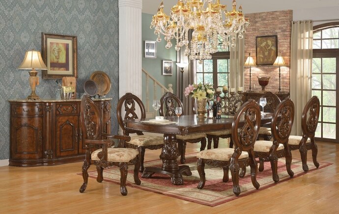 Mc Ferran D6004 7 pc magnolia dark finish wood dining table set with fabric chairs with damask pattern