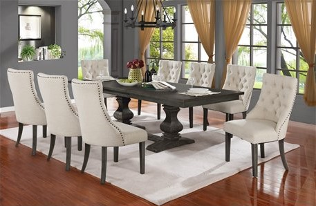 D82-9PC-BG 9 pc Canora grey ruger antique rustic grey finish wood dining table set