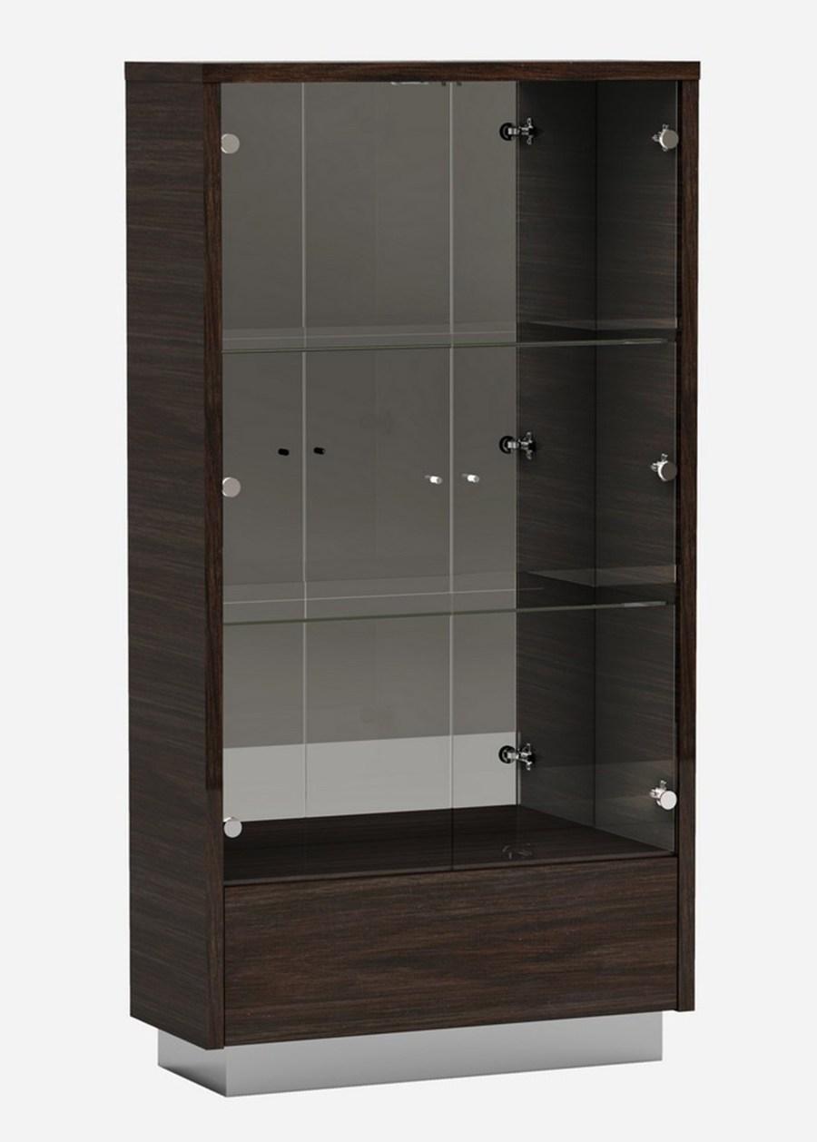 D832-VETRINA  Orren ellis desrochers vertina high gloss wenge wood grain finish wood modern style display curio cabinet