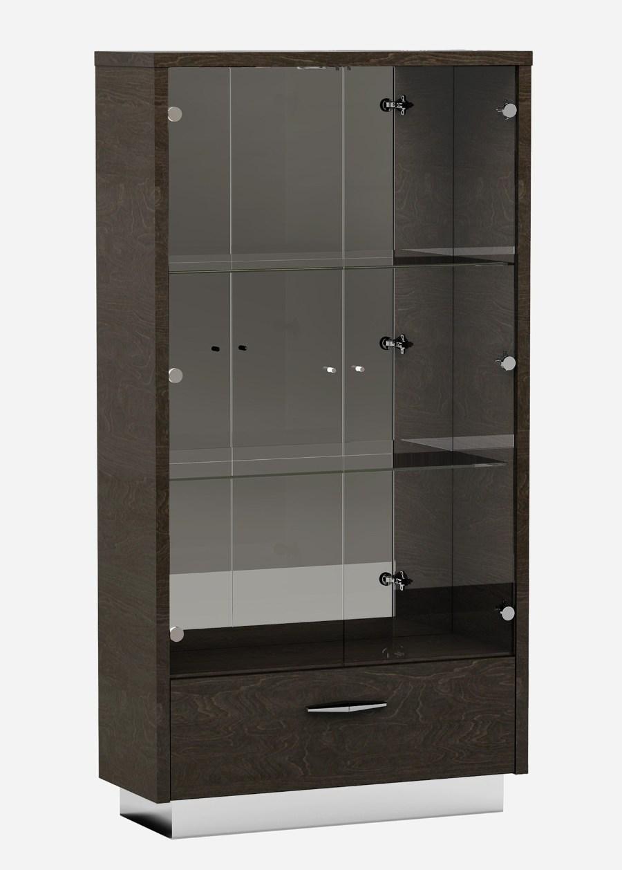 D845-VETRINA  Orren ellis desrochers vertina high gloss grey wood grain finish wood modern style display curio cabinet