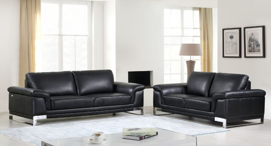 411-BL-2PC 2 pc Orren ellis hawkesbury divanitalia black italian leather sofa and love seat set