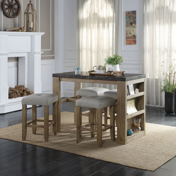 Acme DN00551 5 pc Gracie oaks charnell rustic oak finish wood marble top counter height dining table with shelves