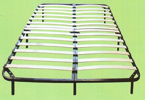 Eastern king stand alone euro base bed base with steel frame and bent wood slat construction