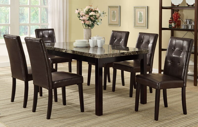 Poundex F2093-1078 7 pc avenue ii espresso finish wood table faux marble top dining table set