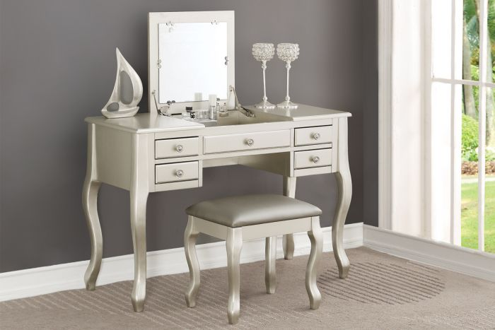 Poundex F4145 3 pc Angelica silver finish wood make up bedroom vanity set flip up mirror