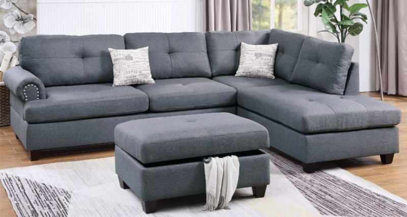 Poundex F6414 3 pc Martinique II blue gray poly fiber fabric sectional sofa reversible chaise and ottoman