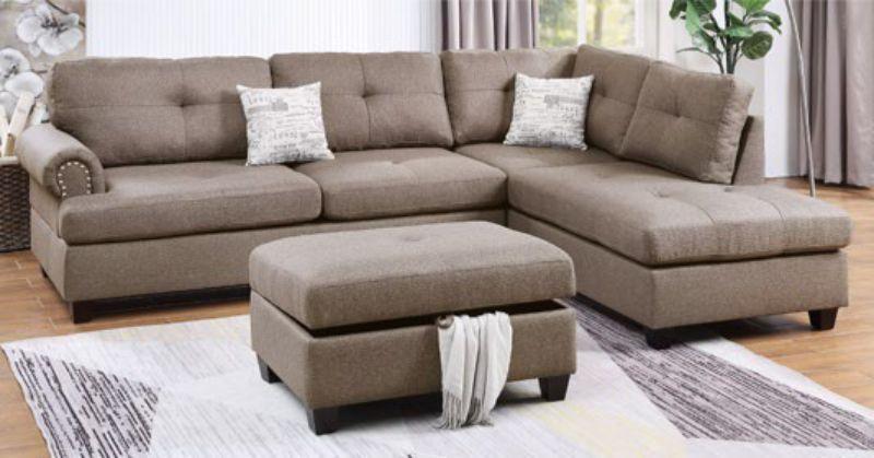 Poundex F6416 3 pc Martinique II mocha dorris fiber fabric sectional sofa reversible chaise and ottoman