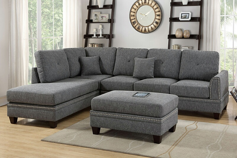 Poundex F6511 2 pc Darleen ash black cotton blended fabric sectional sofa with nail head trim accents
