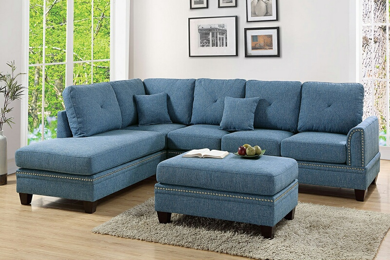 Poundex F6512 2 pc Darleen blue cotton blended fabric sectional sofa with nail head trim accents