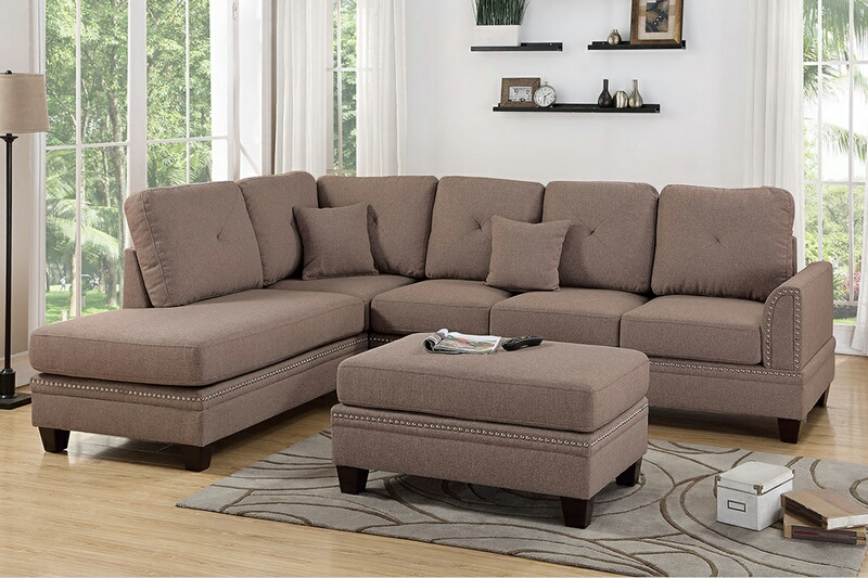 Poundex F6513 2 pc Darleen coffee cotton blended fabric sectional sofa with nail head trim accents
