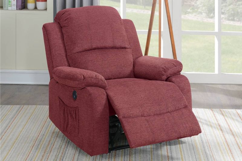 Poundex F86029 Joy Kona paprika red velvet fabric power motion recliner with USB power plug on side