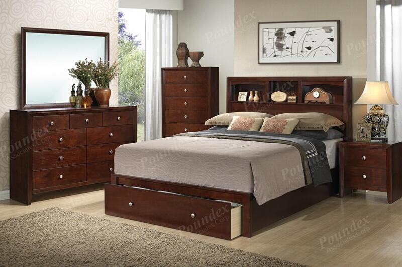 Poundex F9282Q-4PC 4 pc Morgan deep rich cherry finish wood queen bed set
