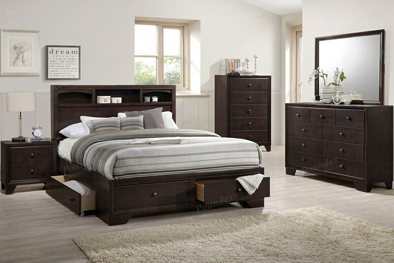 Poundex F9326Q 4 pc Morgan II dark brown natural finish wood queen bed set