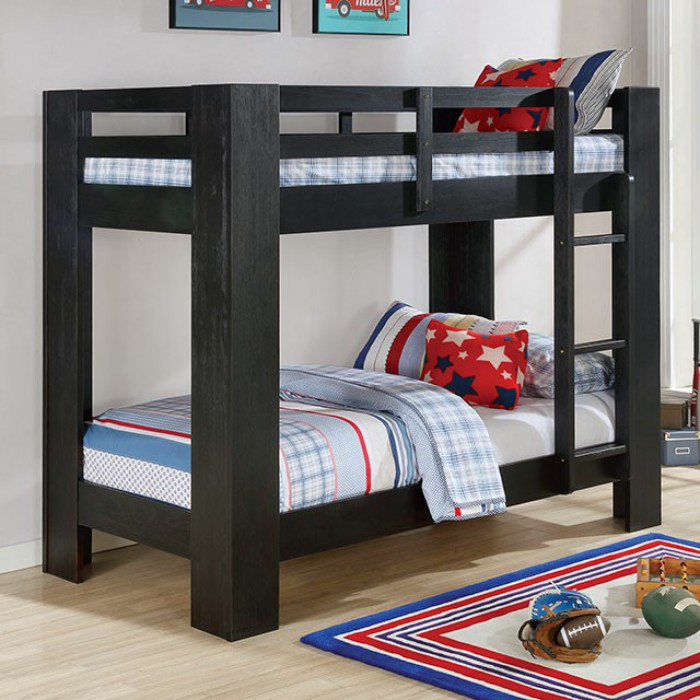 FOA-BK972BK Suzie black wire brushed finish wood twin over twin bunk bed with wide posts