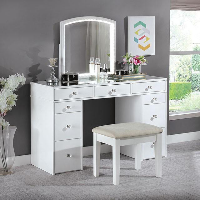 FOA-DK5240 3 pc Rosdorf park sheffield louise white finish wood make up bedroom vanity set
