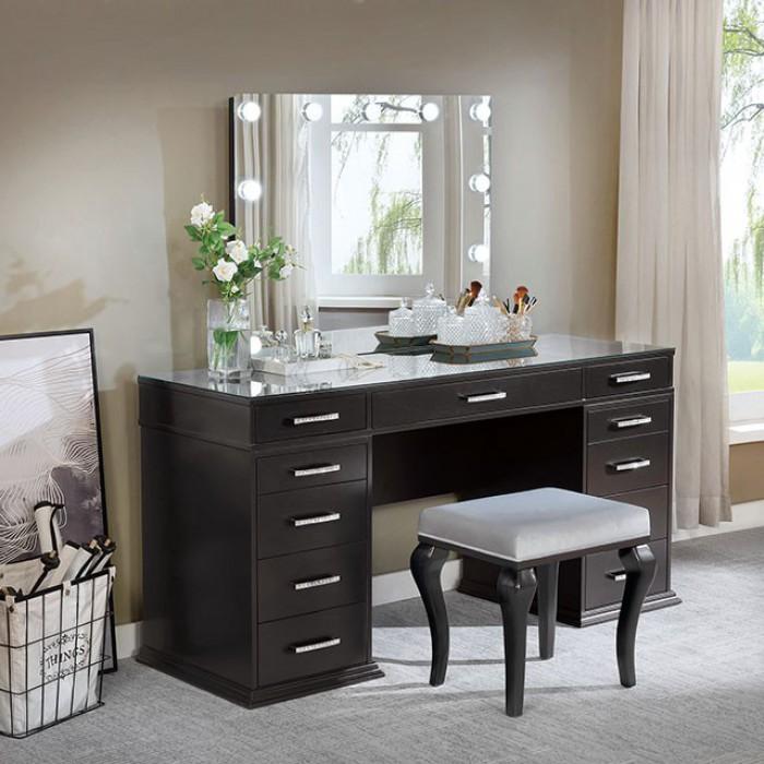 FOA-DK5682DG 3 pc Rosdorf park sheffield valentina obsidian gray finish wood make up bedroom vanity set