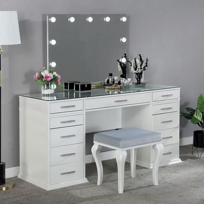 FOA-DK5682WH 3 pc Rosdorf park sheffield valentina luminous white finish wood make up bedroom vanity set