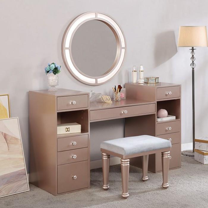 FOA-DK5683PK 3 pc Rosdorf park sheffield yasmine tiffany blush finish wood make up bedroom vanity set