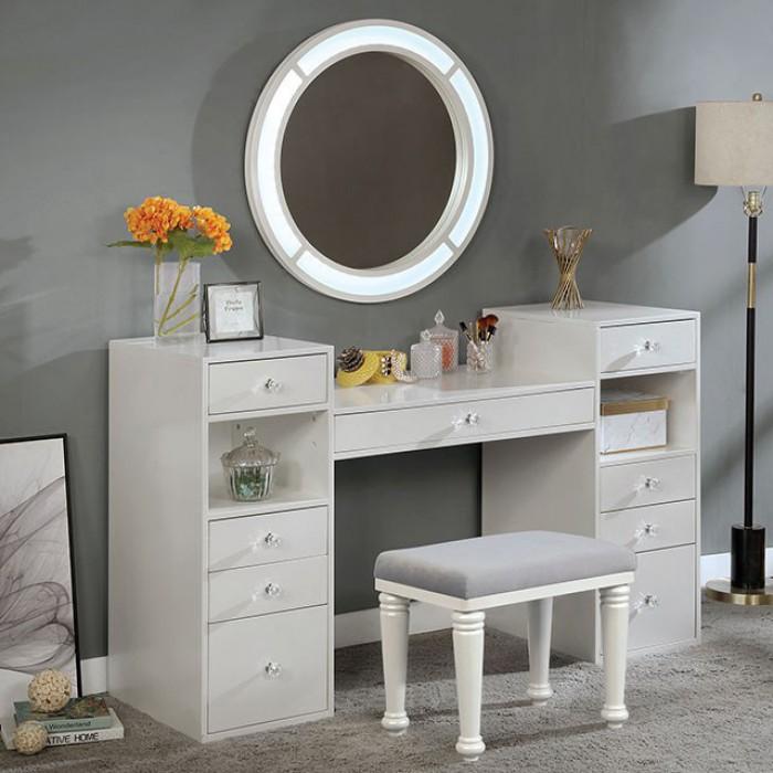 FOA-DK5683WH 3 pc Rosdorf park sheffield yasmine luminous white finish wood make up bedroom vanity set