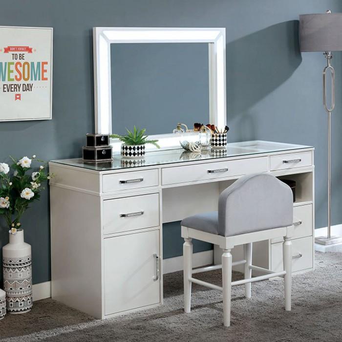 FOA-DK5684WH 3 pc Rosdorf park sheffield vickie luminous white finish wood make up bedroom vanity set