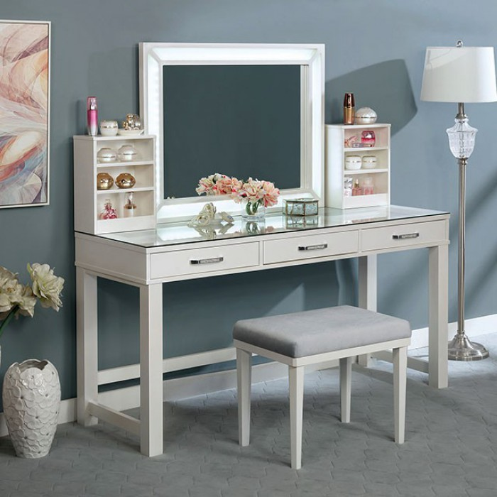 FOA-DK5685WH 3 pc Rosdorf park sheffield stephanie luminous white finish wood make up bedroom vanity set