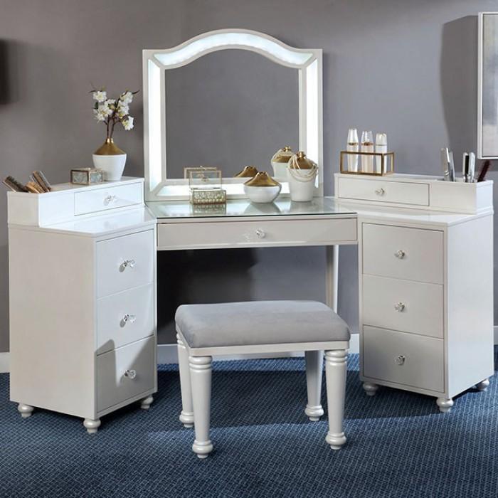 FOA-DK5686WH 3 pc Rosdorf park sheffield tracie luminous white finish wood corner make up bedroom vanity set