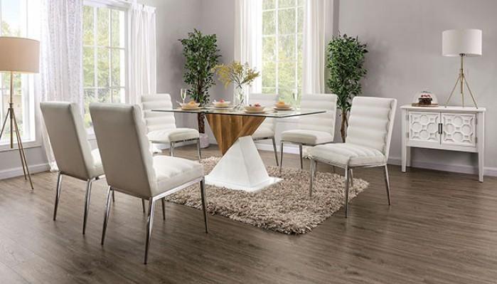 FOA3746T-7PC 7 pc Latitude run thiago bima white and natural finish wood glass top dining table set