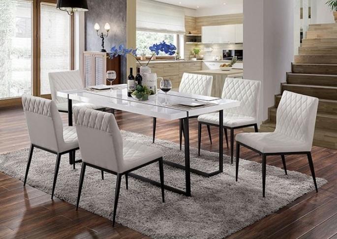 FOA3799T 7 pc Canora grey mel alisha white high gloss laquer top dining table set