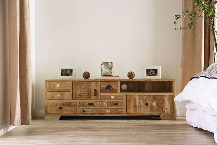 FOA51003 Union rustic hintz Blanchefleur weathered rustic natural tone finish wood TV media stand